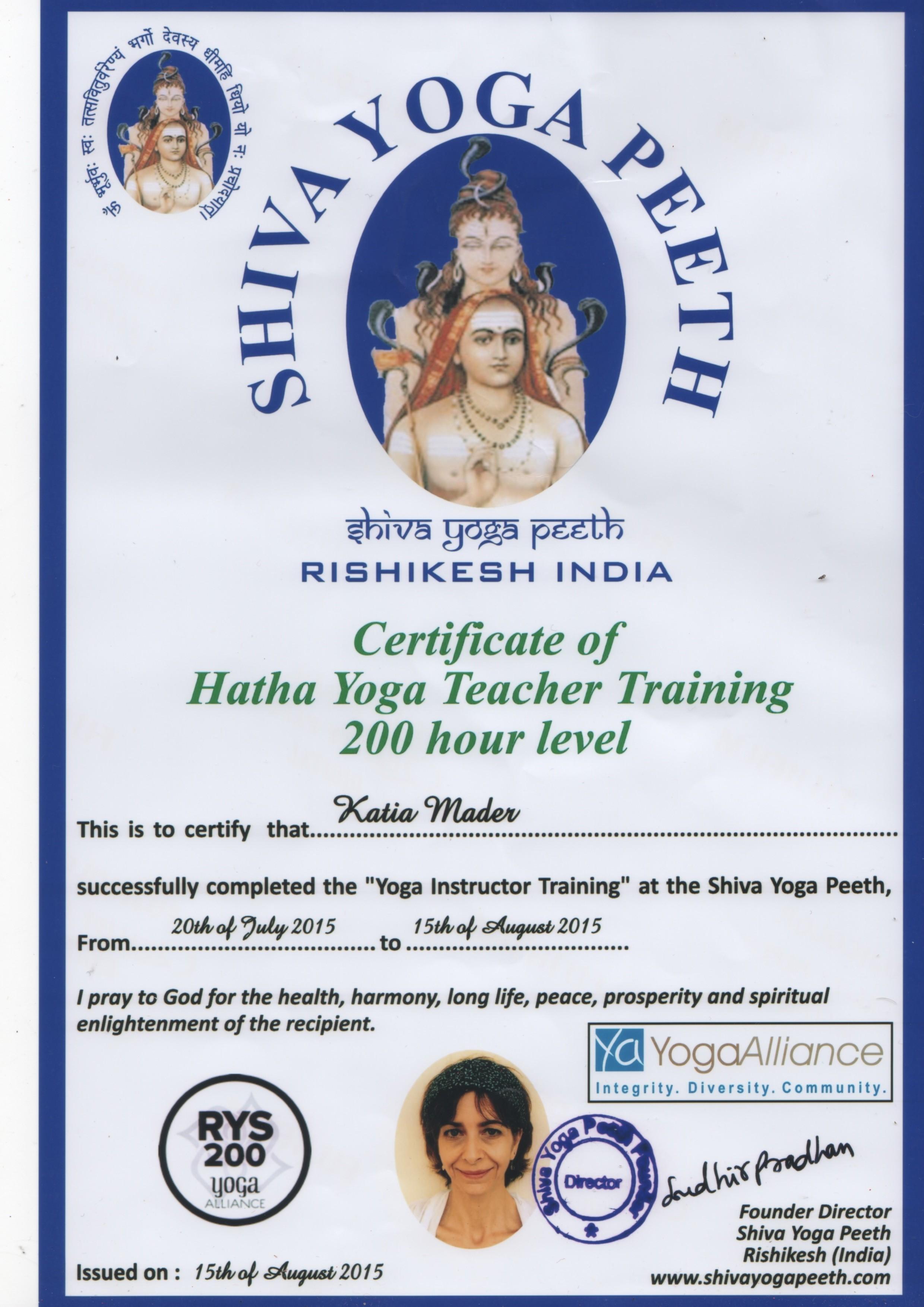 Certificat Yoga Rishikesh India Katia Mader
